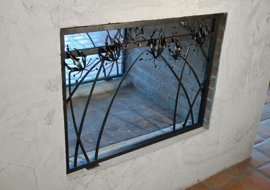 Forged, steel, fireplace, screen, floral, flower, glory lilly