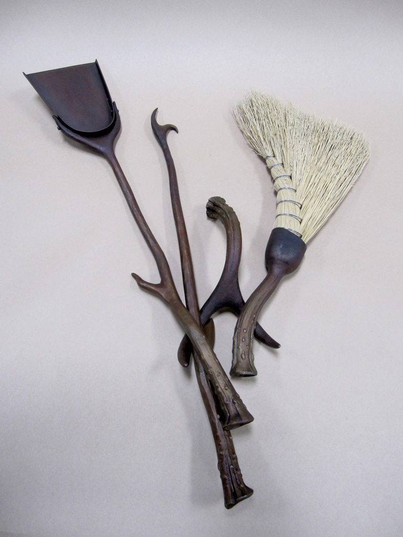 Custom, Iron, Metal, Fireplace, Tools, Antler, Broom, Poker, Shovel, Blacksmith