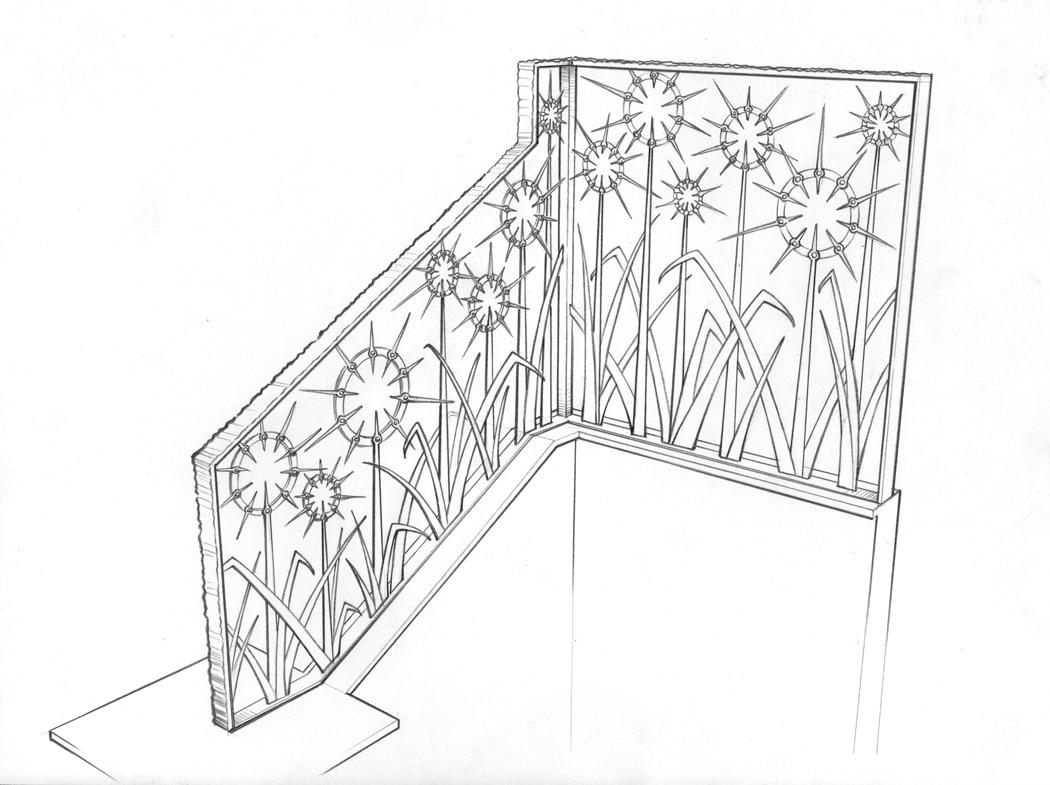 Custom, Iron, Blacksmith, Railing, Forged, Steel, Design, Drawing, Daniel Hopper Design