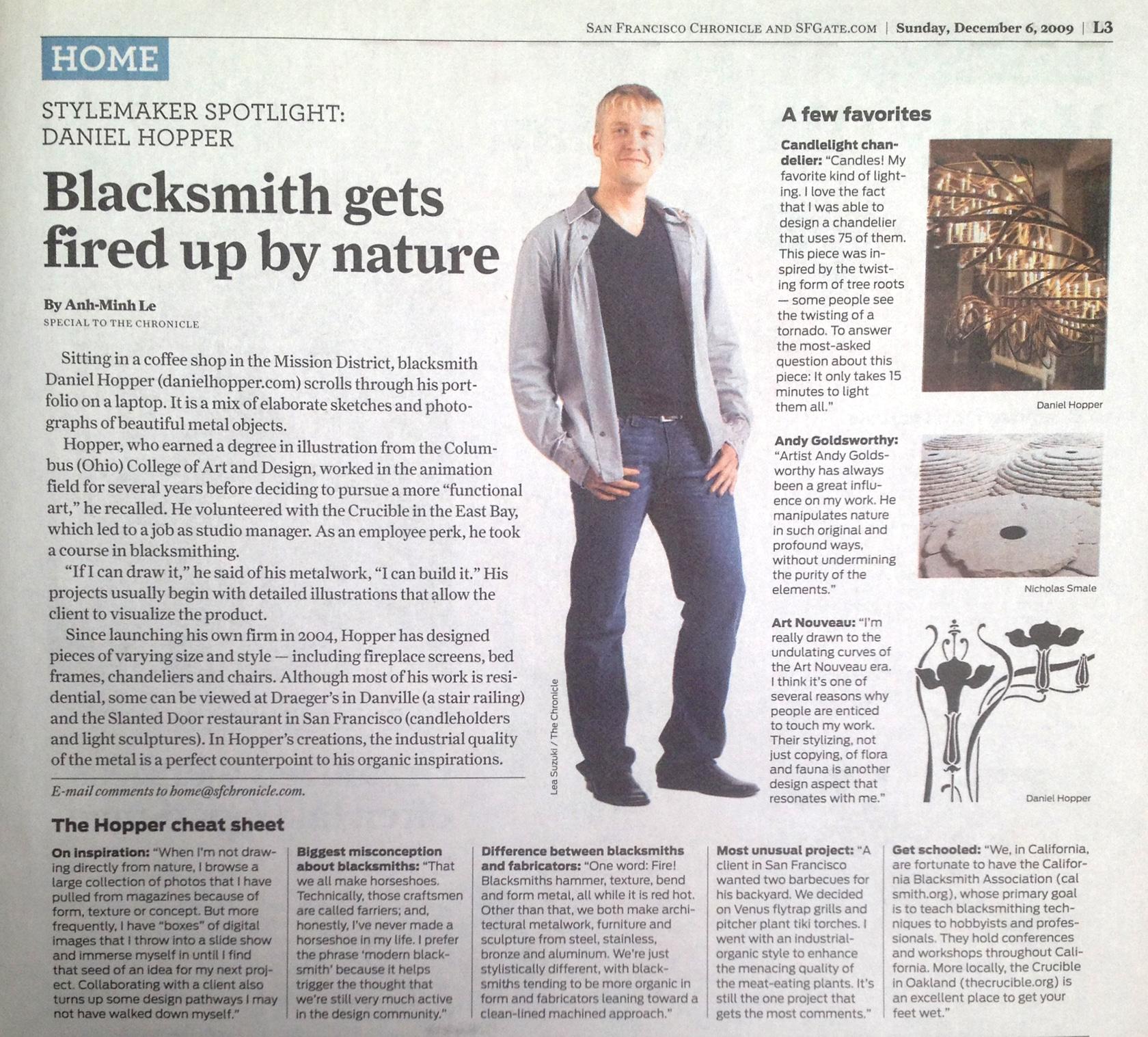 Blacksmith, Forged, Custom, Design, Daniel Hopper Design, Iron, Steel, Publicity, San Francisco Chronicle