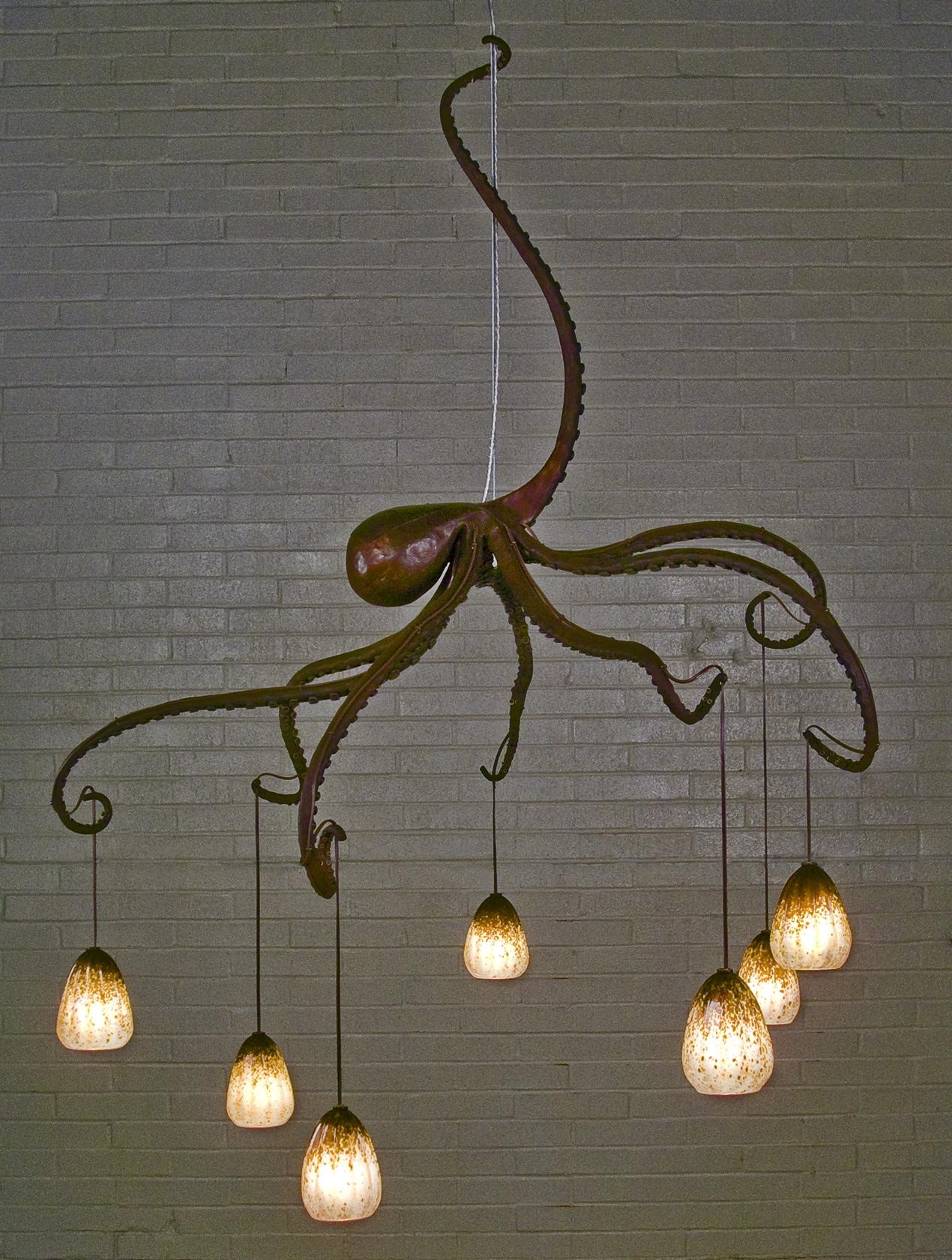 Octopus chandelier daniel hopper design blacksmith forged custom design daniel hopper design iron steel arubaitofo Gallery