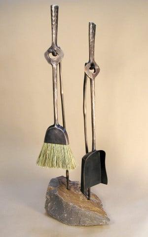 Blacksmith, Forged, Custom, Design, Daniel Hopper Design, Bronze, Fireplace, Tools, Brush, Shovel