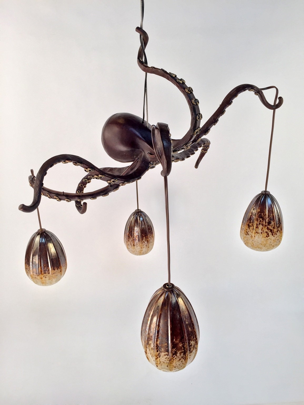 Blacksmith, Forged, Custom, Design, Daniel Hopper Design, Iron, Steel, Bronze, Lighting, Chandelier, Octopus