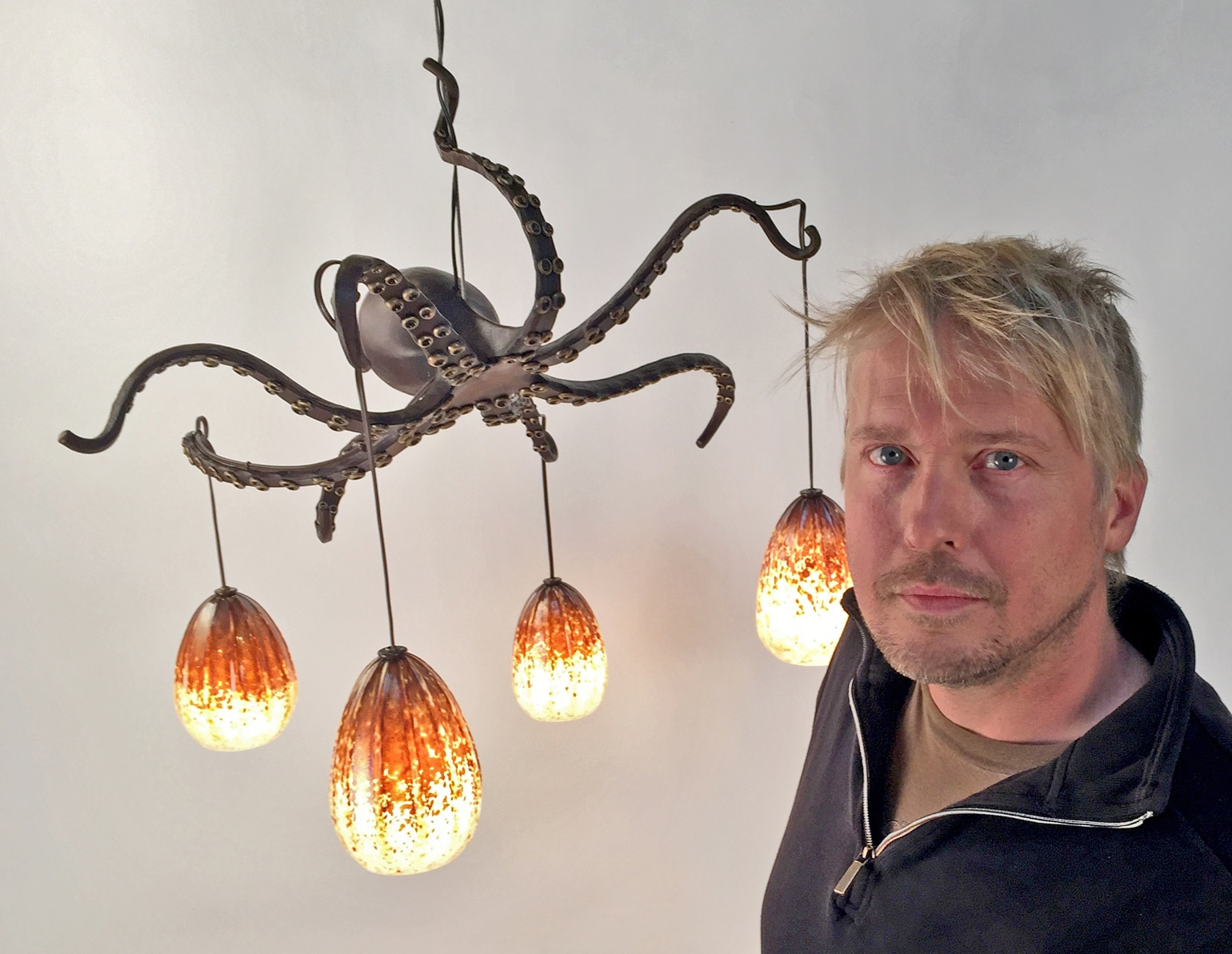 Blacksmith, Forged, Custom, Design, Daniel Hopper Design, Iron, Steel, Bronze, Lighting, Chandelier, Octopus, Artist