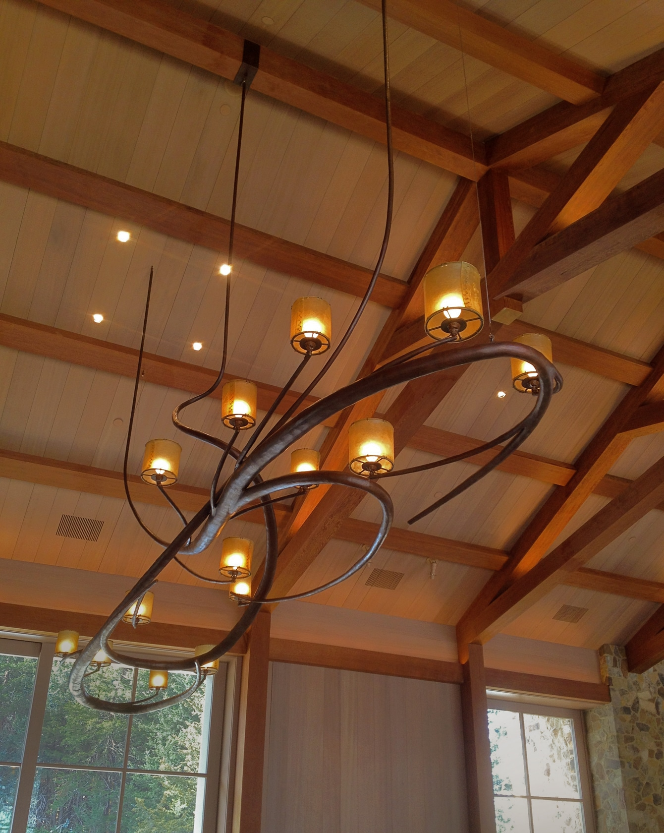Blacksmith, Forged, Custom, Design, Daniel Hopper Design, Iron, Steel, Lighting, Chandelier, Rawhide
